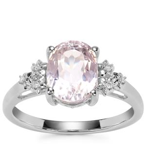 Kolum Kunzite Ring with Diamond in Sterling Silver 2.75cts