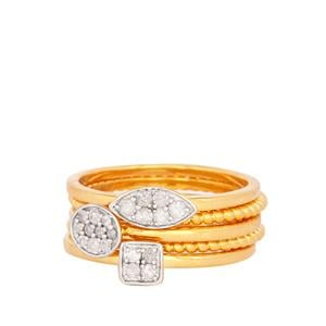 Diamond Ring in Gold Plated Sterling Silver 0.31ct