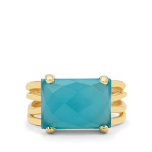 Aqua Chalcedony Ring in Gold Plated Sterling Silver 6.60cts