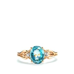 Ratanakiri Blue Zircon Ring with White Zircon in 10K Gold 2.91cts
