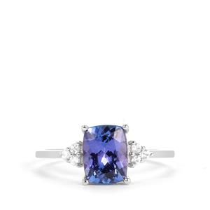 AAA Tanzanite Ring with White Zircon in 9k White Gold 1.65cts