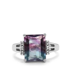 Zebra Fluorite Ring with White Topaz in Sterling Silver 5.59cts