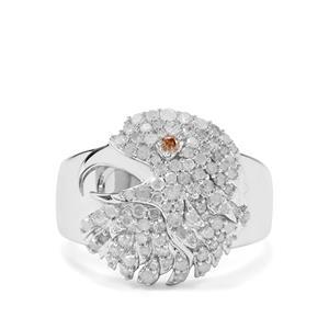 3/4ct Champagne & White Diamond Sterling Silver Hawk Design Ring