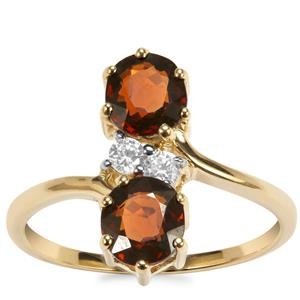 Burmese Spinel Ring with White Zircon in 10k Gold 2cts