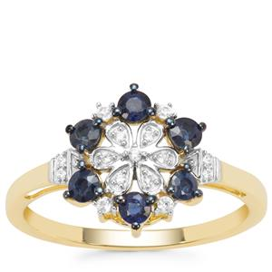 Nigerian Blue Sapphire Ring with White Zircon in 9K Gold 0.63ct
