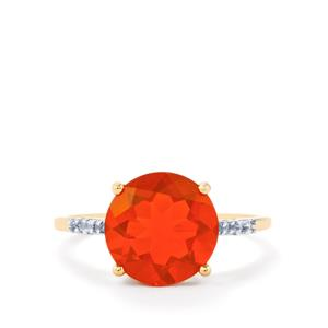 AA Orange American Fire Opal Ring with White Zircon in 10k Gold 2.75cts