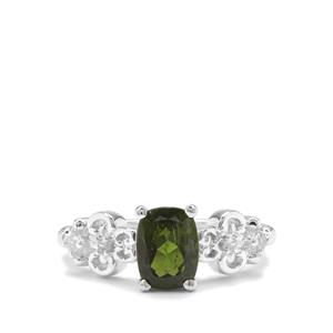Chrome Diopside & White Zircon Sterling Silver Ring ATGW 1.46cts
