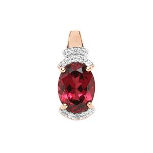 Mahenge Garnet Pendant with White Zircon in 9K Rose Gold 1.71cts