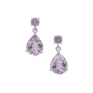 5.50ct Rose De France Amethyst Sterling Silver Earrings