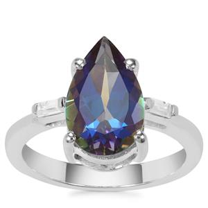 Mystic Blue Topaz Ring with White Zircon in Sterling Silver 4.01cts