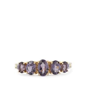 Mahenge Purple Spinel Ring with White Sapphire in 10k Gold 1.50cts