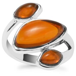 American Fire Opal Ring in Sterling Silver 3.87cts