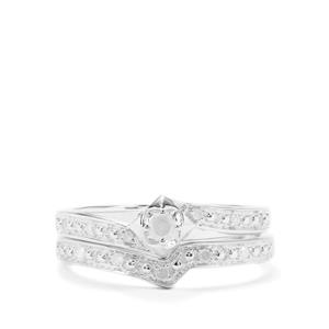 Diamond Set of 2 Stacker Ring in Sterling Silver 0.16ct