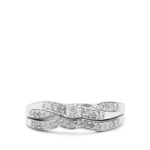 1/4ct Diamond Sterling Silver Set of 2 Stacker Rings
