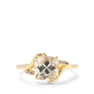 Serenite & Champagne Diamond 9K Gold Ring ATGW 2.04cts