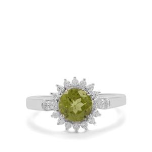 Red Dragon Peridot & White Zircon Sterling Silver Ring ATGW 1.73cts