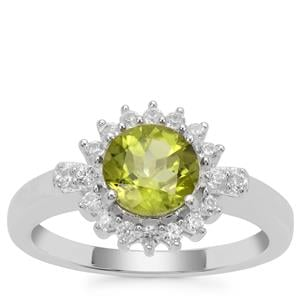 Red Dragon Peridot Ring with White Zircon in Sterling Silver 1.73cts