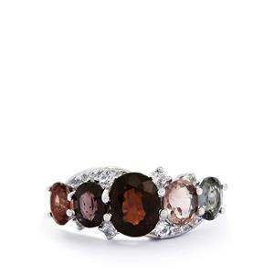 Burmese Multi-Colour Spinel & White Topaz Sterling Silver Ring ATGW 4.41cts