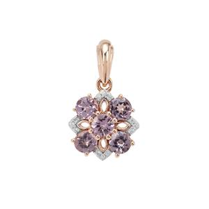 Mahenge Purple Spinel Pendant with White Zircon in 9k Rose Gold 1.20cts