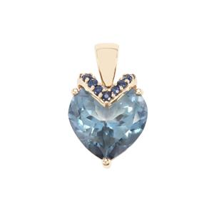Santa Maria Topaz Pendant with Ceylon Blue Sapphire in 9k Gold 9.25cts