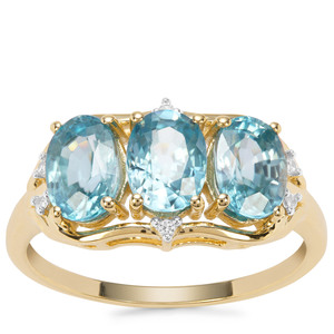 Ratanakiri Blue Zircon Ring with White Zircon in 9K Gold 3.81cts