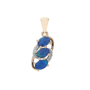 Crystal Opal on Ironstone & Diamond 9K Gold Pendant