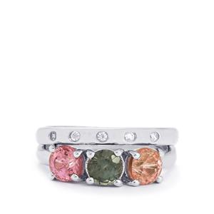 Burmese Multi-Colour Spinel Set of 2 Stacker Rings with White Zircon in Sterling Silver 2.12cts