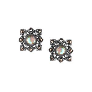 Paua & Natural Marcasite Sterling Silver Jewels of Valais Earrings