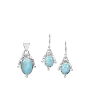 Larimar Set of Pendant and Earrings in Sterling Silver 10cts
