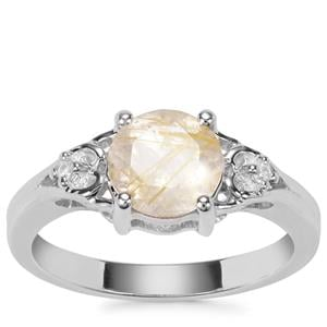 Bahia Rutilite Ring with White Zircon in Sterling Silver 1.65cts