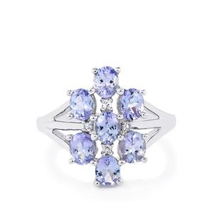 Tanzanite Ring with White Topaz in Sterling Silver 2.53cts