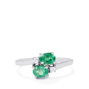 Zambian Emerald Ring with White Zircon in 10k White Gold 0.9ct