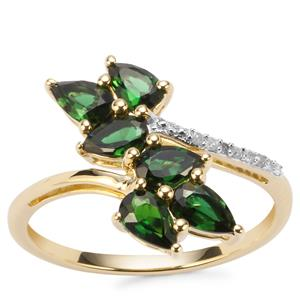 Chrome Tourmaline Ring with Diamond in 10K Gold 1.17cts