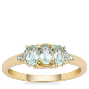Aquaiba™Beryl Ring with Diamond in 9K Gold 0.63ct