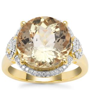 Imperial Scapolite Ring with Diamond in 18K Gold 6.62cts