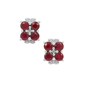 Burmese Ruby Earrings with White Zircon in Sterling Silver 2.30cts