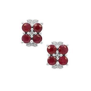 Burmese Ruby & White Zircon Sterling Silver Earrings ATGW 2.30cts