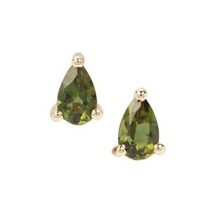 Chrome Tourmaline Earrings in 9K Gold 0.38ct