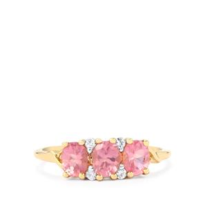 Mozambique Pink Spinel & Ceylon White Sapphire 9K Gold Ring ATGW 1.18cts