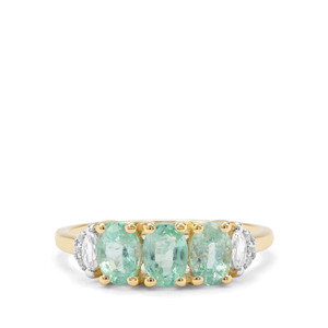 Malysheva Emerald & White Zircon 9K Gold Ring ATGW 1.61cts