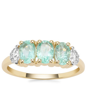 Malysheva Emerald Ring with White Zircon in 9K Gold 1.61cts