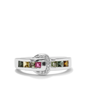 Rainbow Tourmaline & White Zircon Sterling Silver Ring ATGW 0.84ct