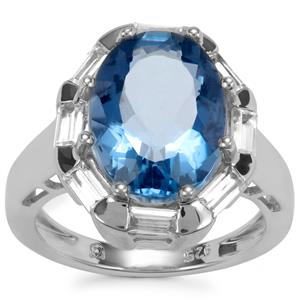 Colour Change Fluorite Ring with White Zircon in Sterling Silver 8.28cts