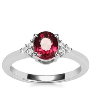 Malawi Garnet Ring with White Topaz in Sterling Silver 1.53cts