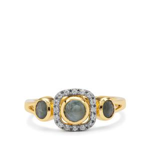 Cats Eye Alexandrite Ring with White Zircon in 9K Gold 1.30cts