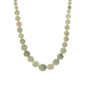 Burmese Jadeite Graduated Necklace in Sterling Silver 176.70cts
