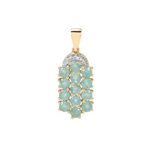 Grandidierite Pendant with Diamond in 10K Gold 2.15cts