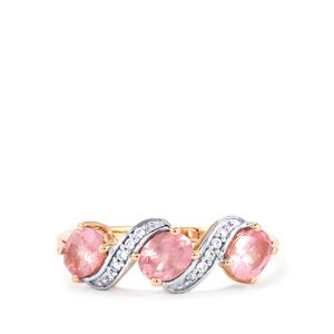 Pink Spinel Ring with White Zircon in 10k Rose Gold 1.14cts