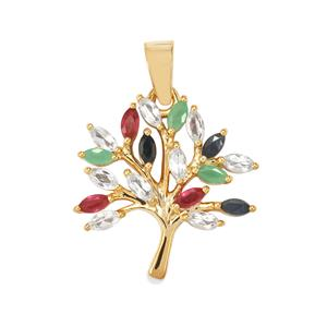Kaleidoscope Gemstones Pendant in Gold plated Sterling Silver 1.44cts (F)