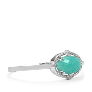 Amazonite Cuffs with White Topaz in Sterling Silver 16.85cts
